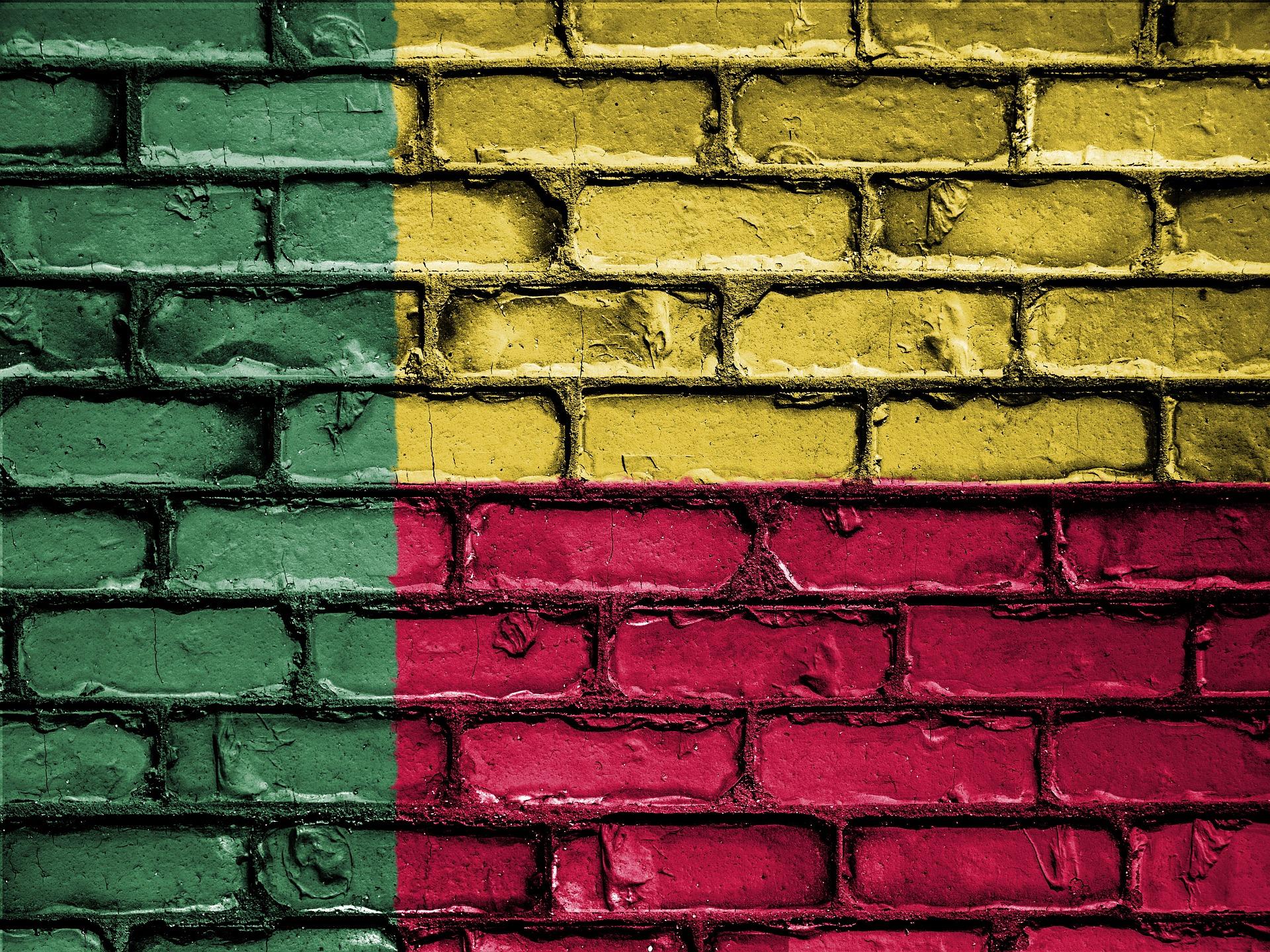 Benin flag painted on brick wall