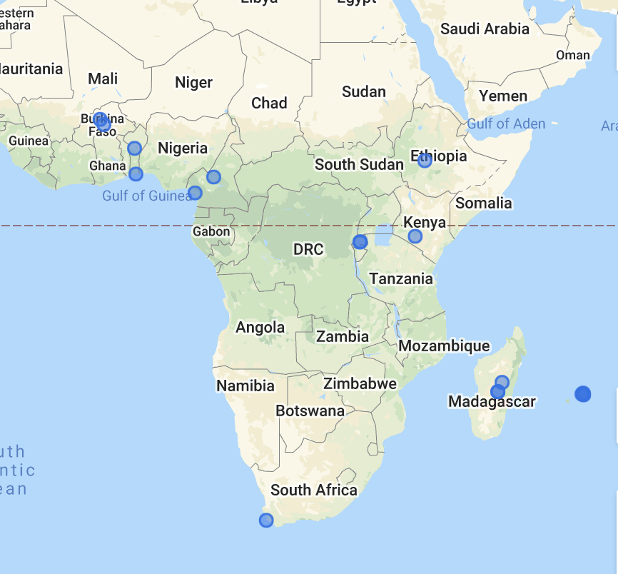 Map of Africa showing MIRA Pod locations